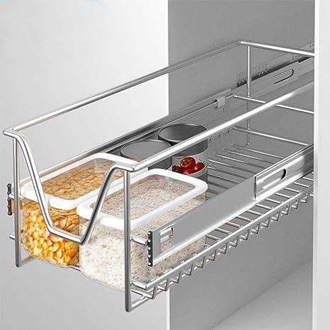BAKAJI Teleskopregal für Küche, mit Ablage, ausziehbar, platzsparend, mit  Schiene aus Edelstahl 9 cm