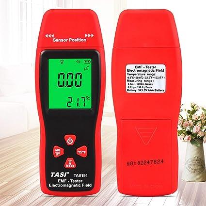 Gugutogo Detector de radiación electromagnética digital Medidor de emf portátil Dosímetro Probador Rojo y gris