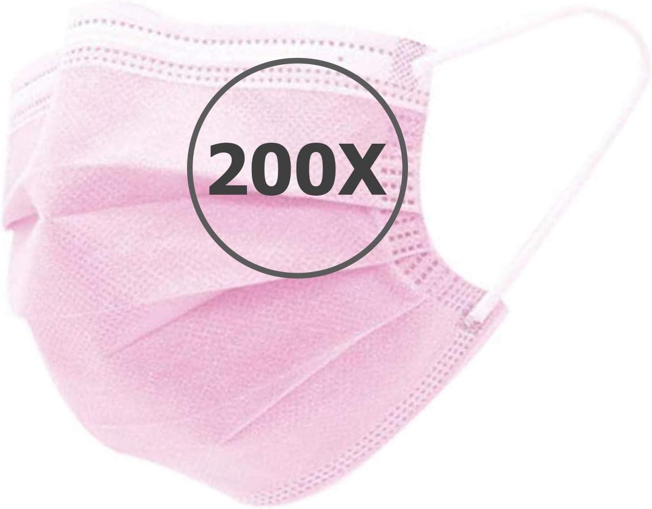 TBOC Protección Facial Desechable - [Pack 200 Unidades] [Color Rosa] Antipolen Antipolvo Ligera Suave y Transpirable con Pinza Nasal No Reutilizable