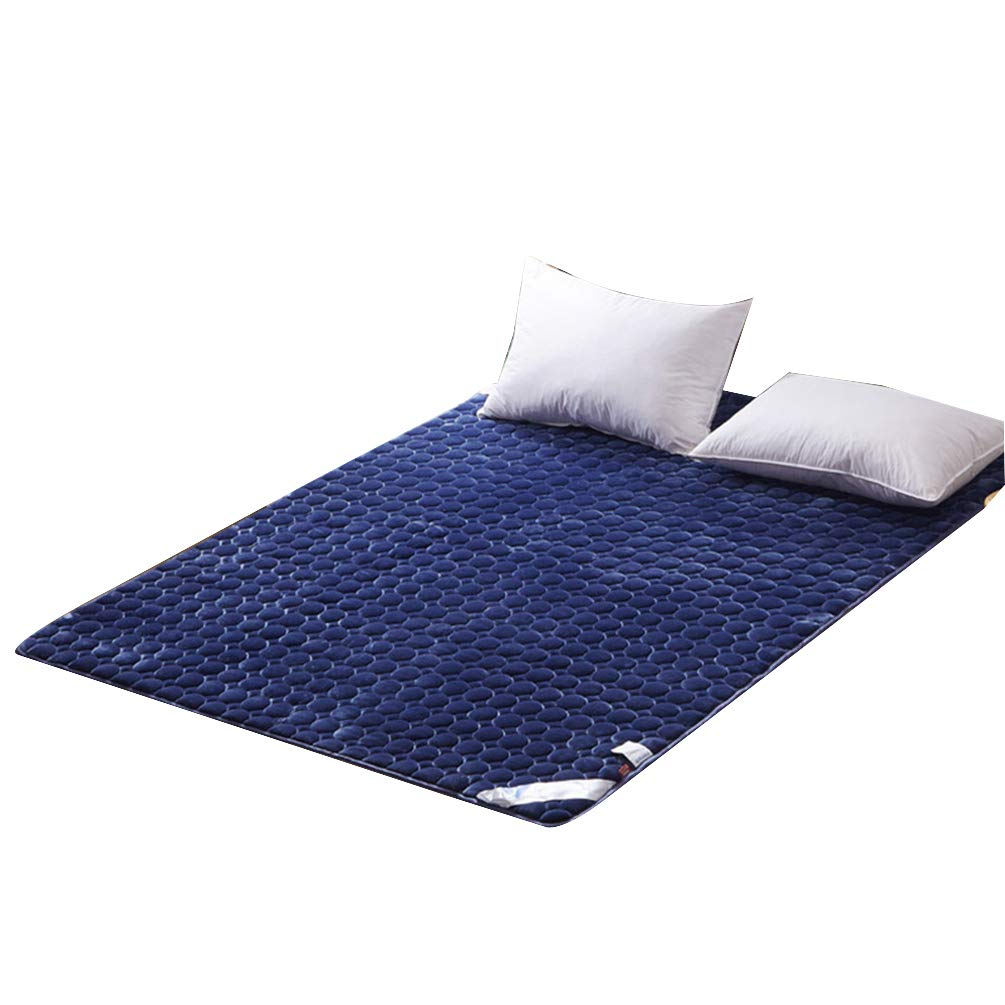 Darkbluee 150x200cm Thickened Folding Velvet Tatami Floor Mattress Pad, Super Soft Thicken Single Double Non-Slip Hotel Bed Mattress Predection Futon Mattresses - 180x200 cm (71x78 Inches),Purple,150x200cm