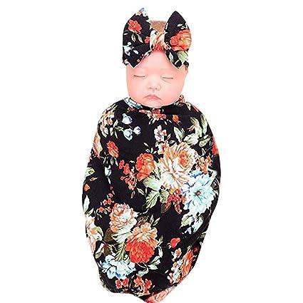 2pcs ReciéN Nacido Bebé Swaddle Manta Sleeping Wrap + Conjunto de Diadema, Amphia Manta Para