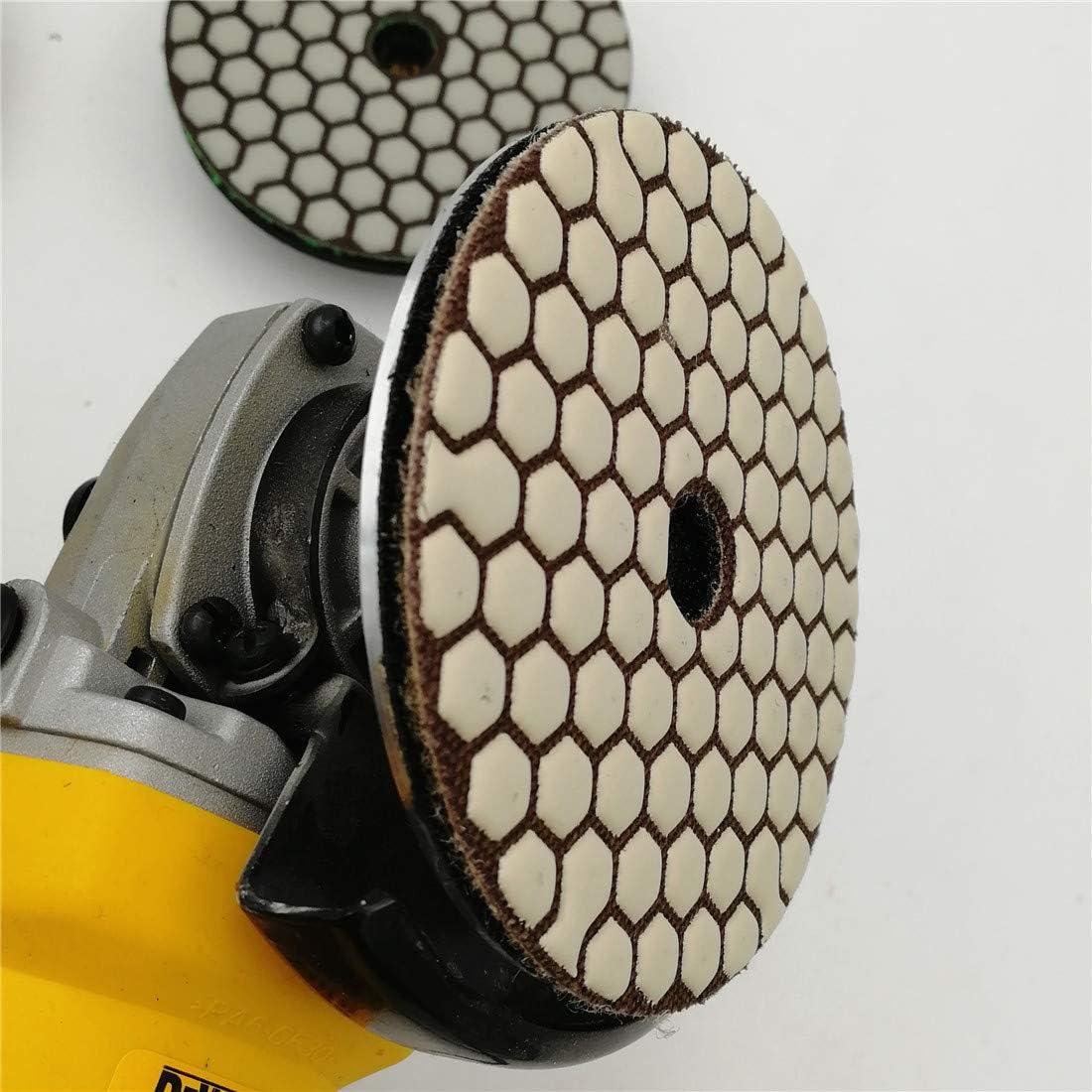 DIATOOL Almohadillas de Pulido de Diamante Seco 7Pk-100MM para Granito Marmol Buff Blanco