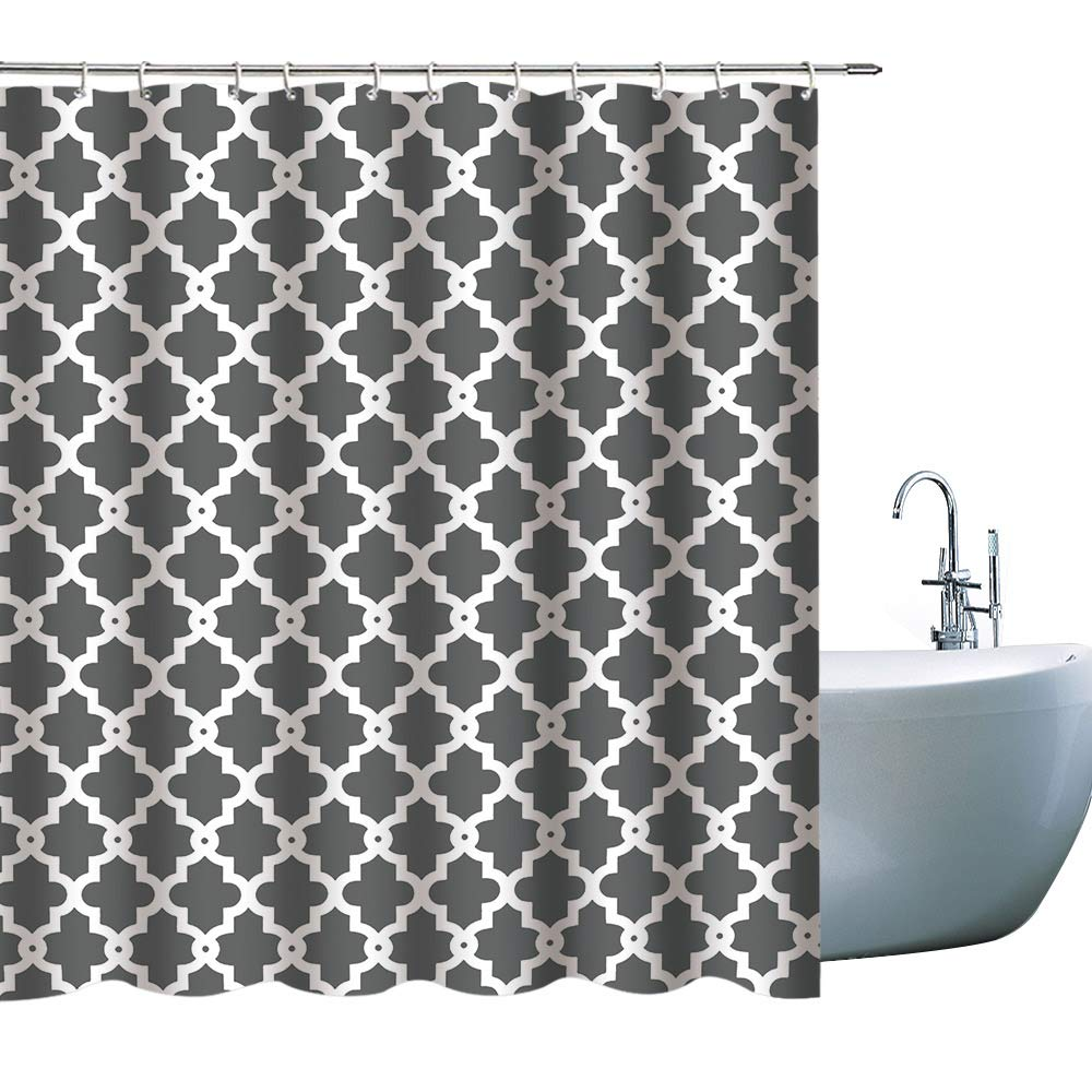 71x71inch Gray Bath Decor Shower Curtain Set Hooks Included Waterproof Polyester Fabtic Shower Curtains for Bathroom GOODCARE Home Decor Grey Shower Curtain Classic Hexagon