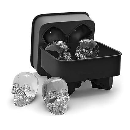 Sunbeter Bandeja de Cubitos de Hielo de 3D Cráneo con Tapa, Cráneo de Silicona Molde