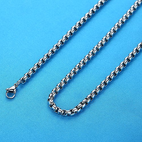 "LineAve Men's Stainless Steel Egyptian Eye Pendant Necklace, 23 + 2"" Ext, 8a0008"