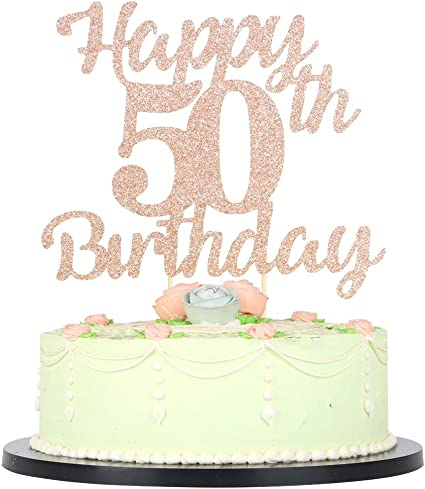 Tremendous Amazon Com Lveud 50Th Birthday Cake Topper For Happy Birthday 50 Personalised Birthday Cards Veneteletsinfo