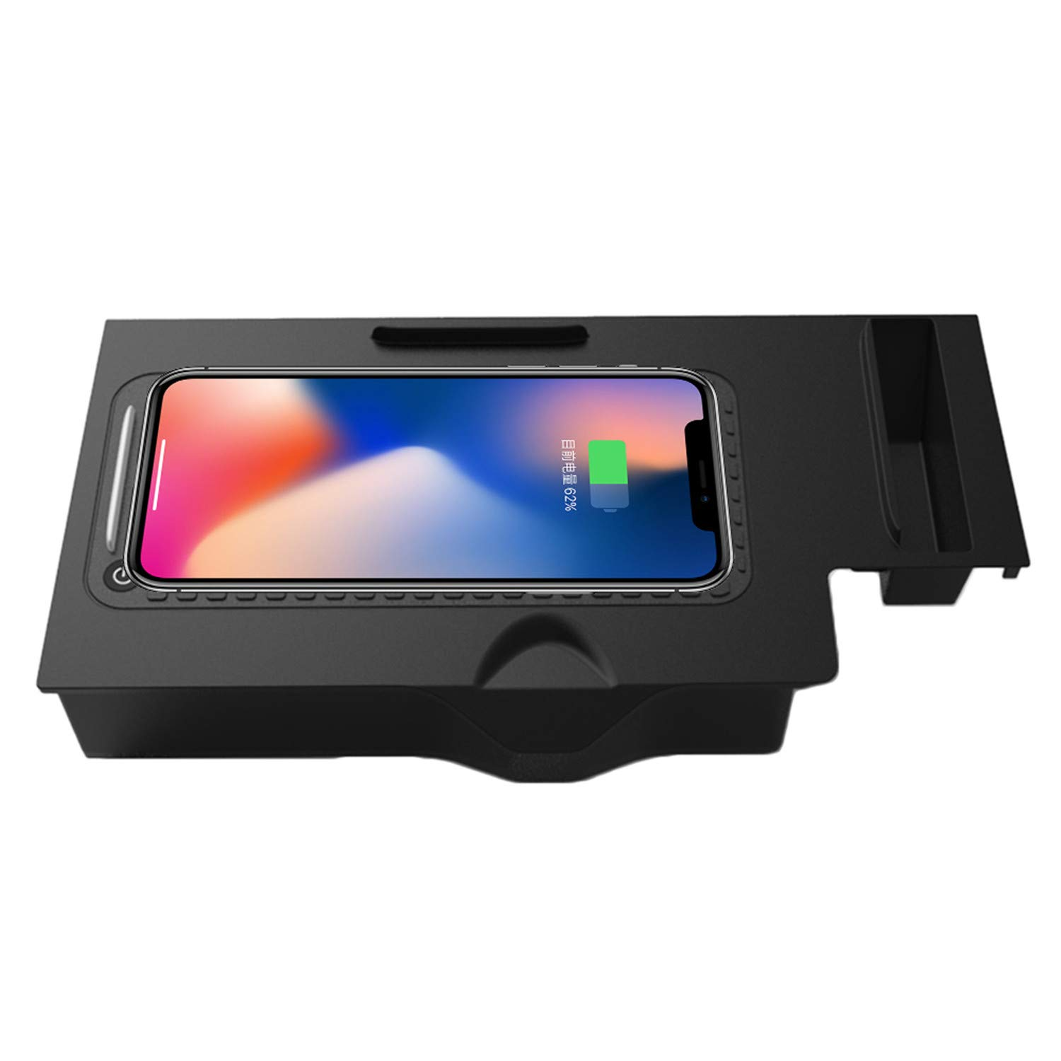 ZWNAV Wireless Car Charger Mount for BMW x3/x4 2018-2019, Qi Certified, 10W Fast Charging Compatible with iPhone XS/XR/X/8/8+, Samsung S9+ /S9 /S8/S7/Note 8 and Qi Enabled Devices