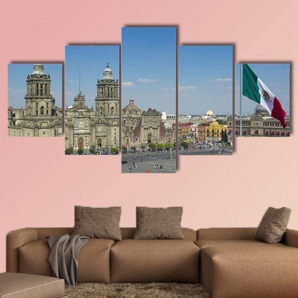 TOPRUN Canvas Wall Art Painting Pictures Zocalo in Mexico City Decoration Wall Decor Bathroom Living Room Bedroom Kitchen Framed Ready to Hang