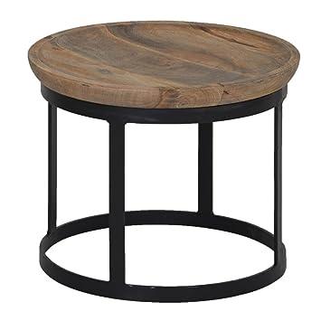 Beistelltisch Rund 43cm Holz Metall Tischplatte Massivholz Mango