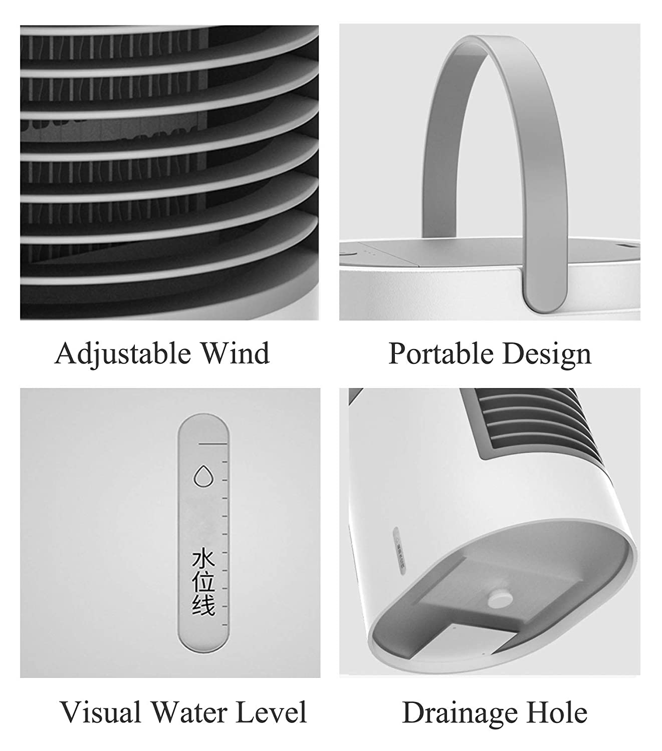 UCMDA Mini Air Cooler Bedroom Mini Air Cooling Fan with Water Tank 3 Speed 7 LED Lights for Home Personal Space USB Portable Air Conditioner Office Travel