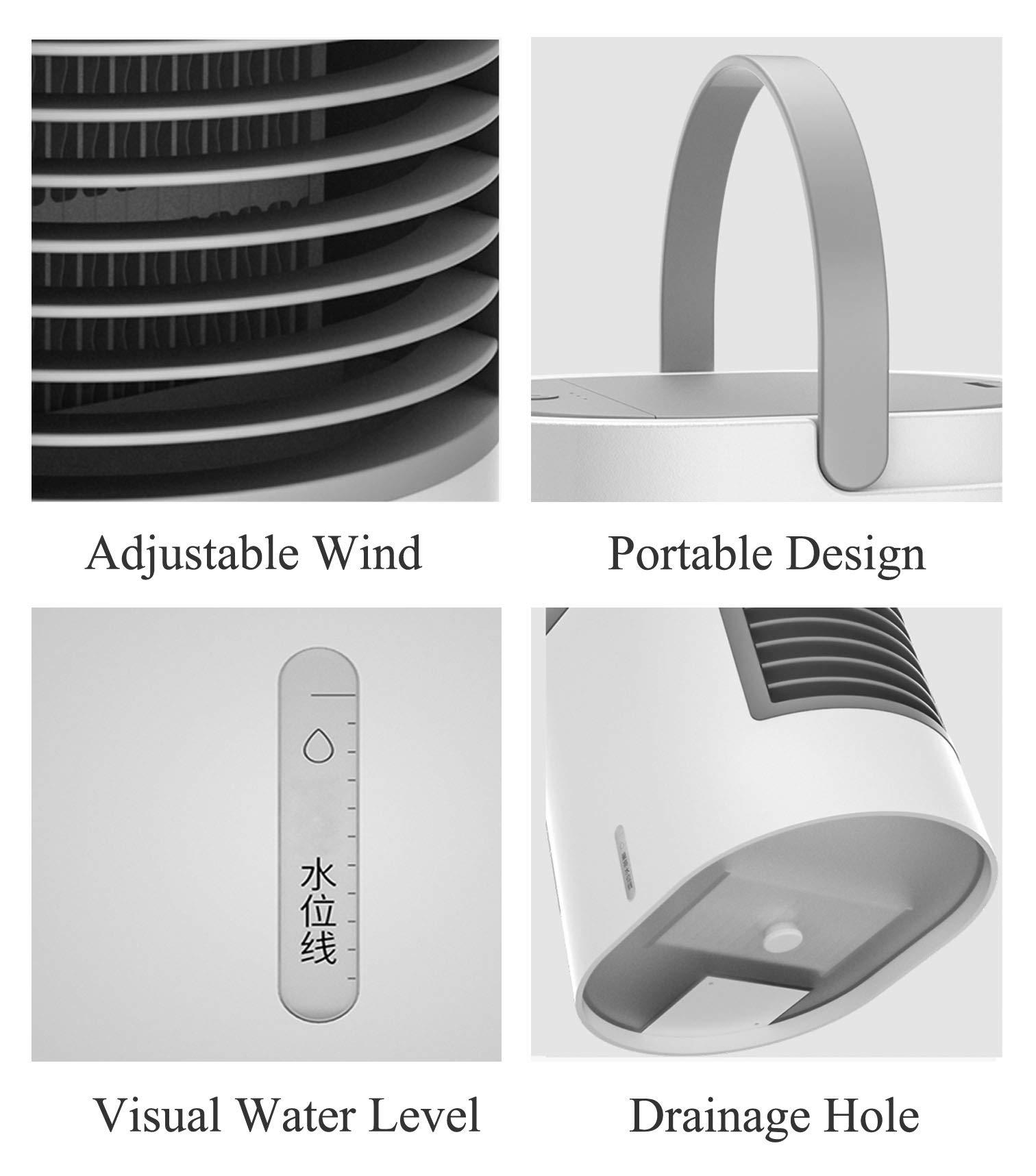 UCMDA Condizionatore Portatile, Mini Raffreddatore D\'aria USB con 7 Colori LED e 3 Velocità del Ventilatore per Home/Office/Camping