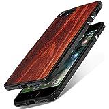 "iPhone 7 Plus Hülle, Handyhülle iPhone 8 Plus Cover, SHOWKOO Metall Aluminiumrahmen Echtholz Ultra-Dünn Stoßfest (Militärstandard) Bumper Case für iPhone 7 Plus / iPhone 8 Plus 5.5"" - Red Rosewood"