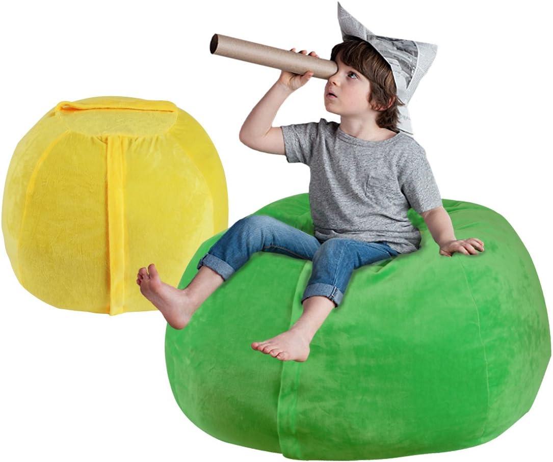 YellowPin 2pc Stuffed Animal Bean Bag Storage Cover Extra Soft Plush Value Set