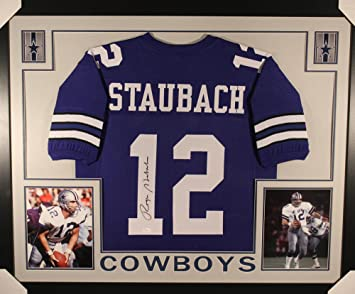 cheaper 19bc9 2cbba Roger Staubach Autographed/Signed Dallas Cowboys Framed Blue ...
