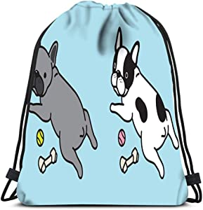 Drawstring Backpack Dog French Bulldog Icon Logo Pug Bone Toy Ball Character Cartoon Laundry Bag Gym Yoga Bag