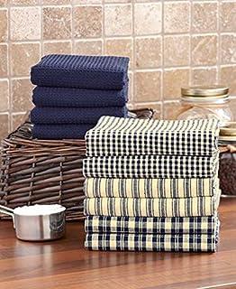 10 Pc. Homespun Kitchen Towel Set (Navy)
