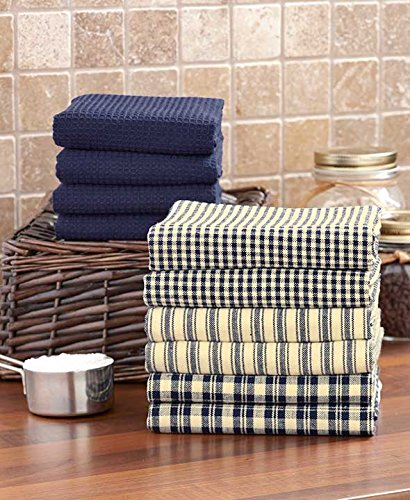 Green And Navy Kitchen: 10-Pc. Homespun Kitchen Towel Set. Blue, Navy, Burgundy Or