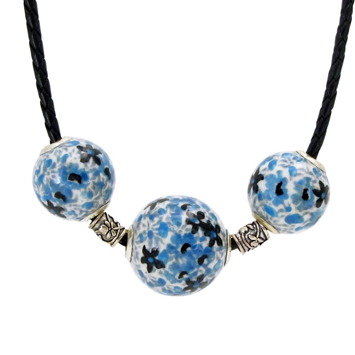 Kamionka Polish Pottery Jewelry 18 Bead Trio ON Braided Leather-Light Blue