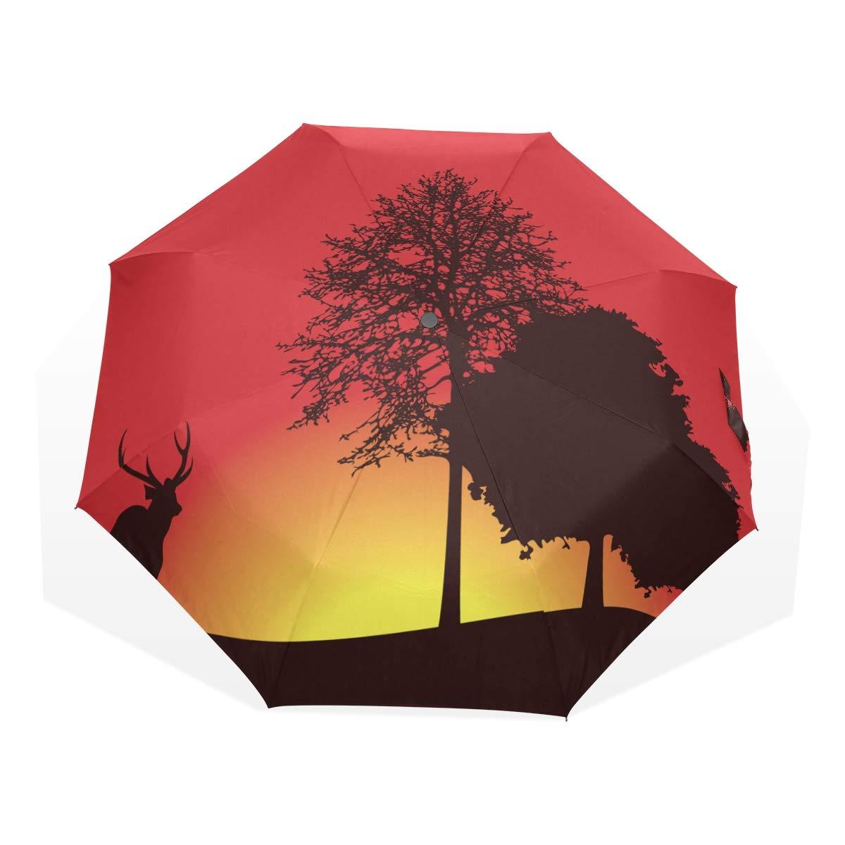 EZIOLY American Animaux Sauvages Deer Elk Arbres Jour de Voyage Parapluie Pliable Compact Soleil et de la Pluie Protection Coupe-Vent Portable Parapluie pour Enfants Femmes Hommes