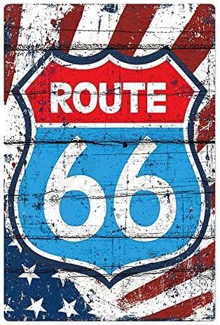 Bar Spr/üche Serie Lumanuby 1x Klassisch Route 66 Vintage Schild mit Bilder von Amerikanische Flagge oder Auto und Motorrad Wandschild f/ür Bar Pub Restaurant Garage Motel Tankstelle 20x30cm