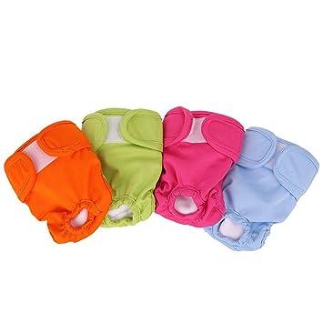 POPETPOP - 4 Piezas de pañales para Perro, Cachorro, Sanitarios, fisiológicos, Pantalones