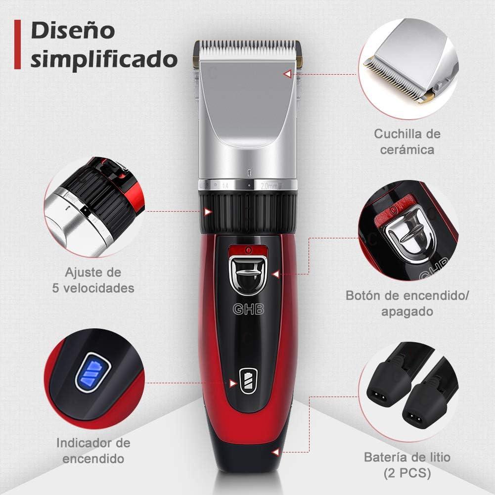 GHB Cortapelos Electrónico Maquinilla Cortar Pelo Ajustable con 4 ...