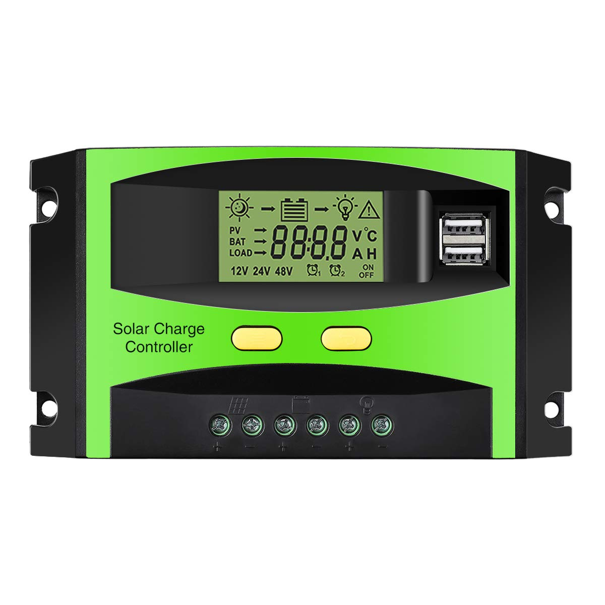 MOHOO Solar Charge Regulator, 12Volt/24Volt Solar Panel Intelligent Regulator with USB Port and PWM LCD Display, 30Amps Solar Charge Controller (Upgraded)
