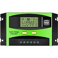 Panel Solar Controlador MOHOO Controlador Inteligente de Carga Solar 12V / 24V LCD con Puerto USB Pantalla Controlador de Carga Solar Ajuste de Temperatura