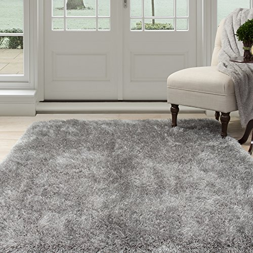 Lavish Home 62-GRE335 Shag Area Rug, Grey, 3'3″ x 5′ For Sale