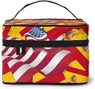 Bolsas de maquillaje Bandera de España con bandera americana Maquillaje grande Bolsas de cosméticos de viaje portátiles Estuches de trenes profesionales: Amazon.es: Hogar