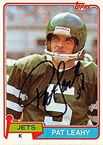 Autograph Warehouse 302340 Pat Leahy Autographed Football Card - New York Jets 1981 Topps No. 177
