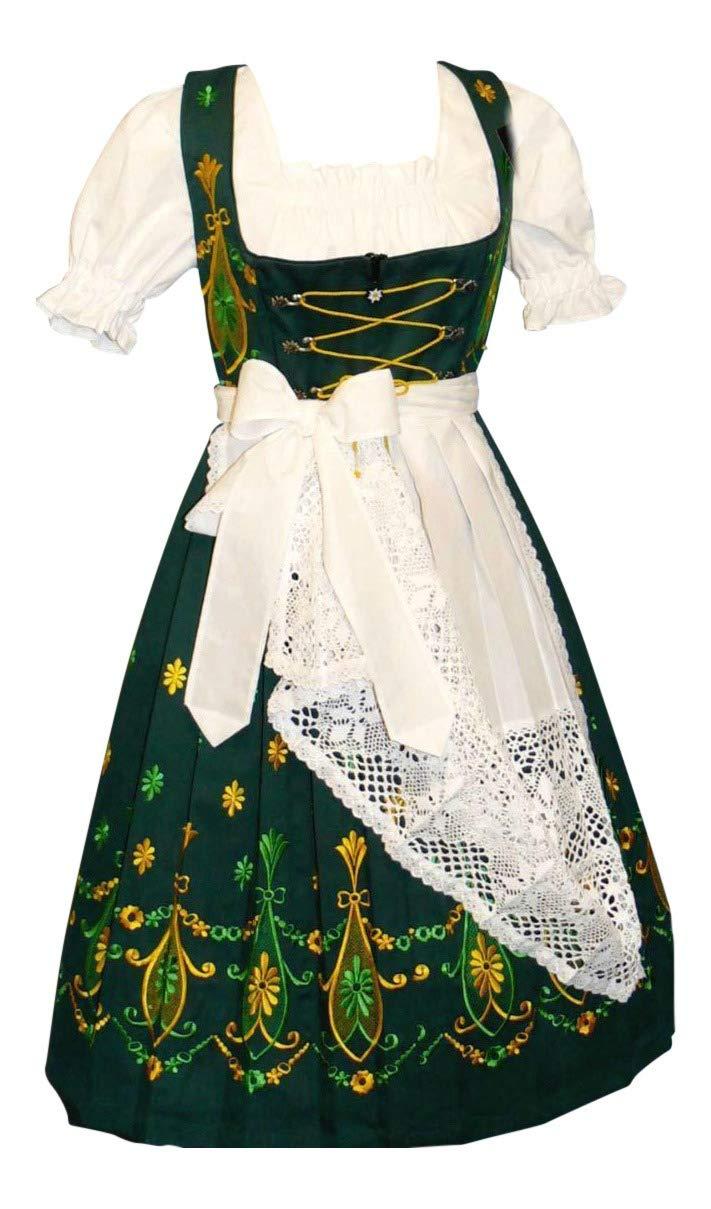 Dirndl Trachten Haus 3-Piece Long German Wear Party Oktoberfest Waitress Dress 10 40 Green