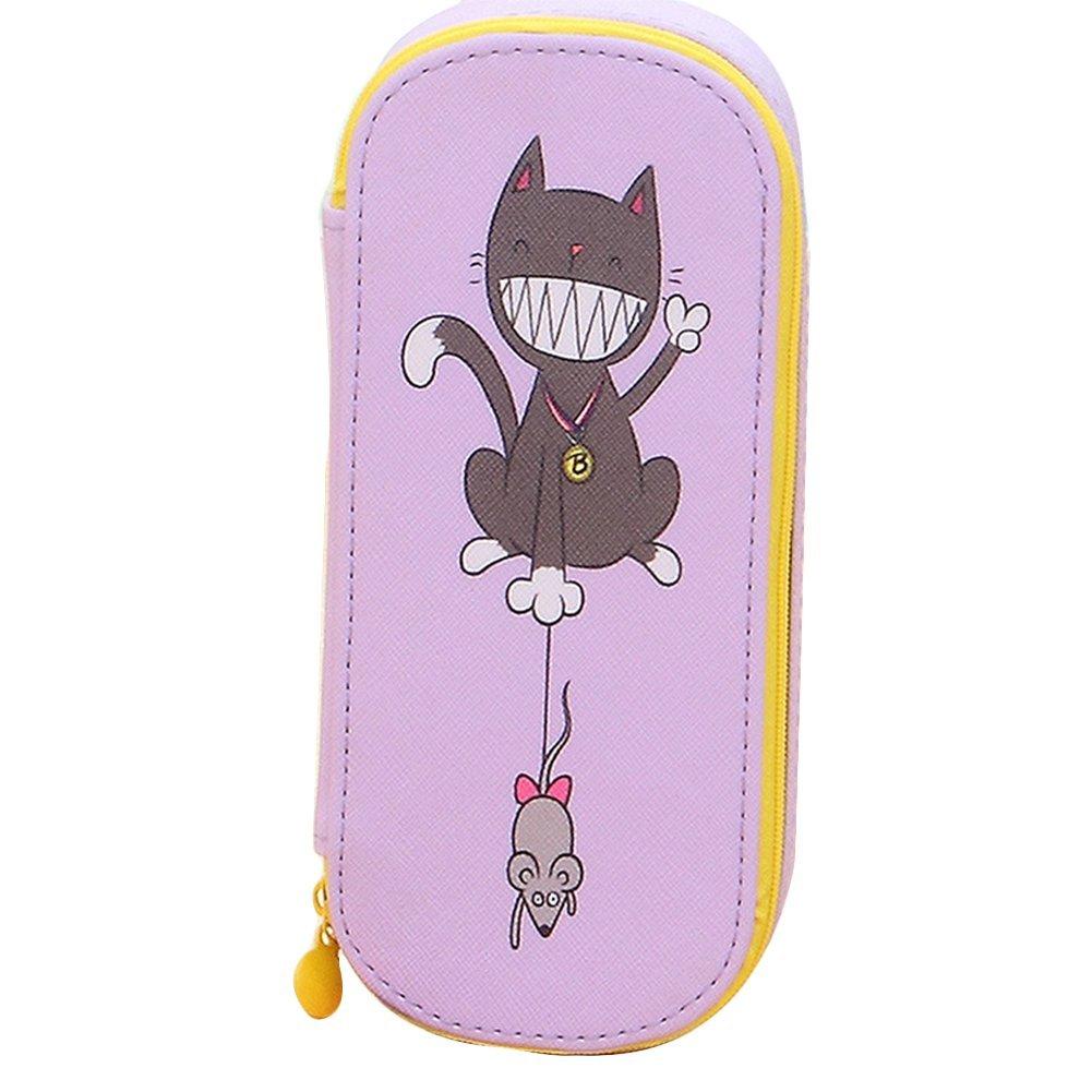 Cosanter di matita della cute Cat Rat modello grande tela per occhiali da trucco per bambine (viola)
