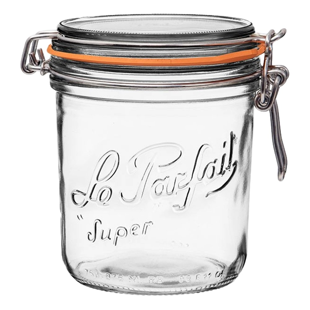 4 Le Parfait Super Terrines - New Stainless Steel Wire - Wide Mouth French Glass Preserving Jars with Straight Bodies, Glass Lids and Natural Rubber Seals - ZeroWaste Packaging (4, 750ml - 24oz - SS)
