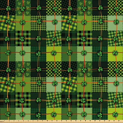 Ambesonne Irish Fabric by The Yard, Patchwork Style St. Patrick's Day Themed Celtic Quilt Cultural Checkered Clovers, Decorative Fabric for Upholstery and Home Accents, Multicolor