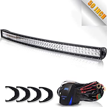turbosii dot 50in curved led light bar - roof windshield mount bracket - dt  connector wiring