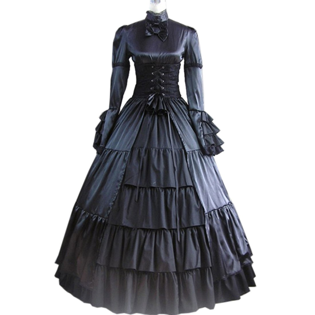 Fancy Dress Store Partiss Women Bowknot Stand Collar Gothic Victorian Dress Costumes M,Black by Fancy Dress Store (Image #2)