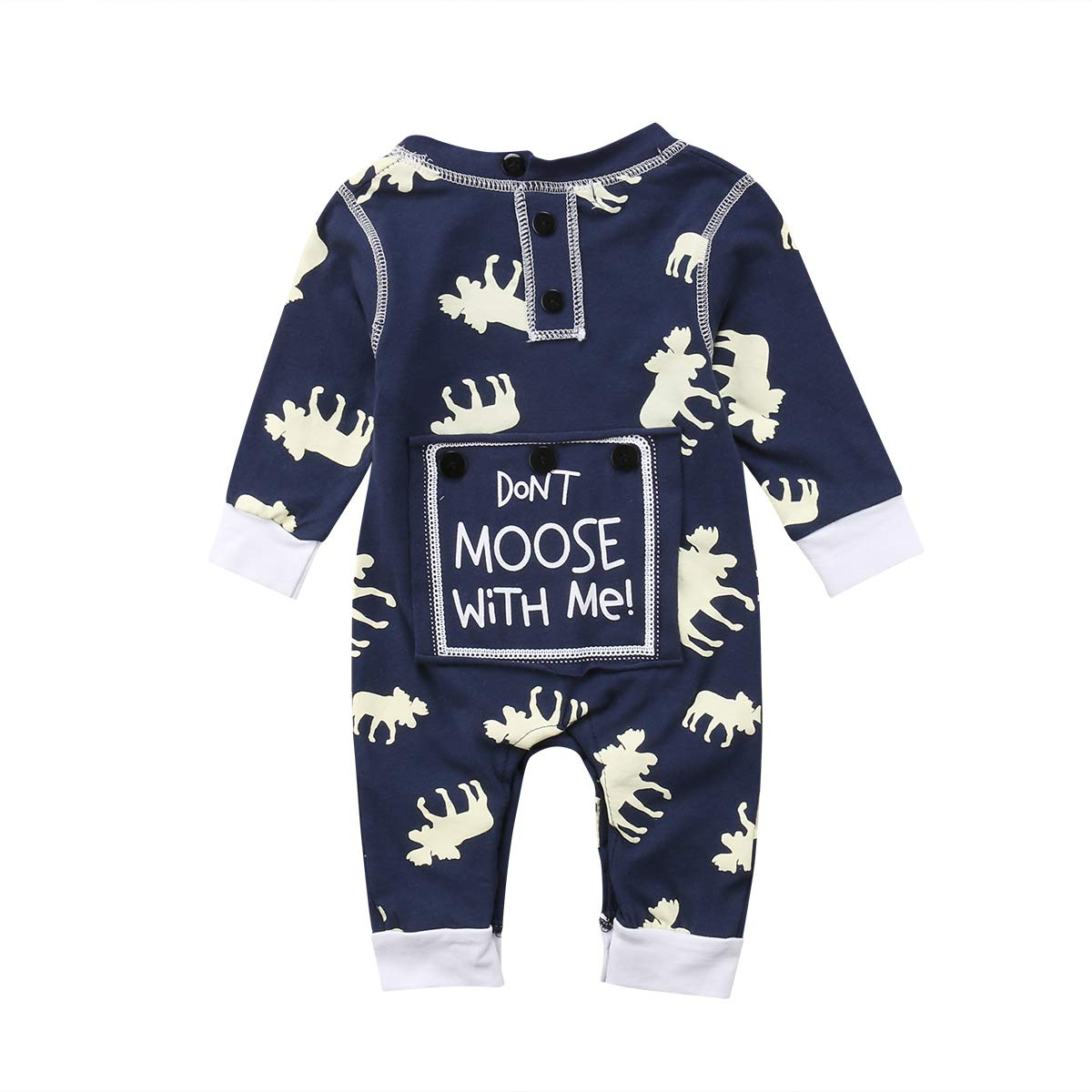 Toddler Infant Baby Girl Boy Long Sleeve Deer Romper Jumpsuit Pajamas XMAS Outfit Aliven