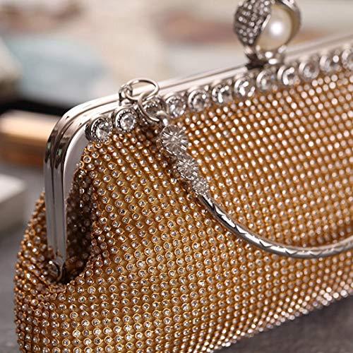 De Del Artificial Cuadrado Pequeño Diamante Silver Gold Bolso Partido color La Tarde Igspfbjn Moda Fresco q5xat4Ya