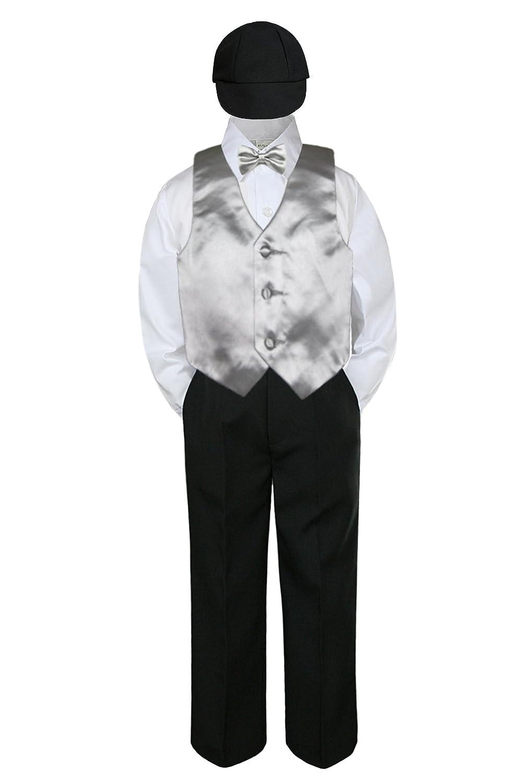 5pc Set Boy Toddler Formal Navy Blue Vest Bow Tie Black Khaki Hat Shorts sz S-4T Boys' Clothing (Newborn-5T) Suits