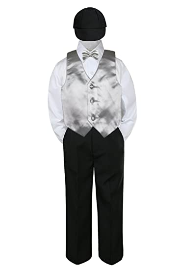 New Baby Boy Formal Wedding Party Black Suit Tuxedo Fuchsia Vest Bow Tie S-4T