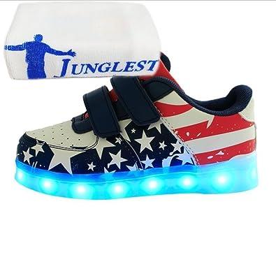 (Present:kleines Handtuch)initial EU 32, Aufladen LED USB Lichtfarbe Sneaker Turnschuhe Kinder Sport Leuchtend Jungen LED Kinderschuhe Mädchen PU Sportschuhe JUNGLEST® 7