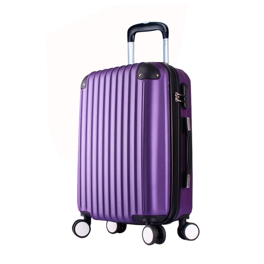 ABSハードシェルキャビン荷物トロリーバッグ軽量キャリーケーススーツケース作り付けロック、4輪、パープル B07MQPVHMK  43*26*64cm