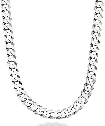 8.5 8 9 Inch Made in Italy MiaBella 925 Sterling Silver Italian Solid 9mm Diamond-Cut Cuban Link Curb Chain Bracelet for Men 7.5