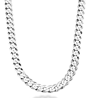 eadacc81ea8 MiaBella Solid 925 Sterling Silver Italian 9mm Solid Diamond-Cut Cuban Link  Curb Chain Necklace for Men, 18