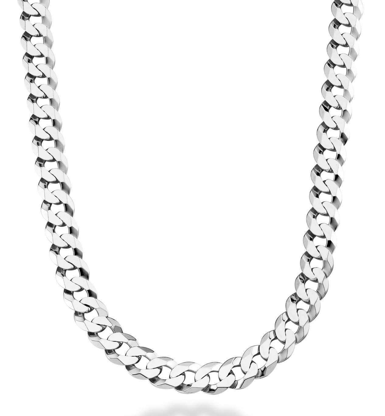 MiaBella Solid 925 Sterling Silver Italian 9mm Solid Diamond-Cut Cuban Link Curb Chain Necklace for Men, 18''-20''-22''-24''-26''-30''(24)