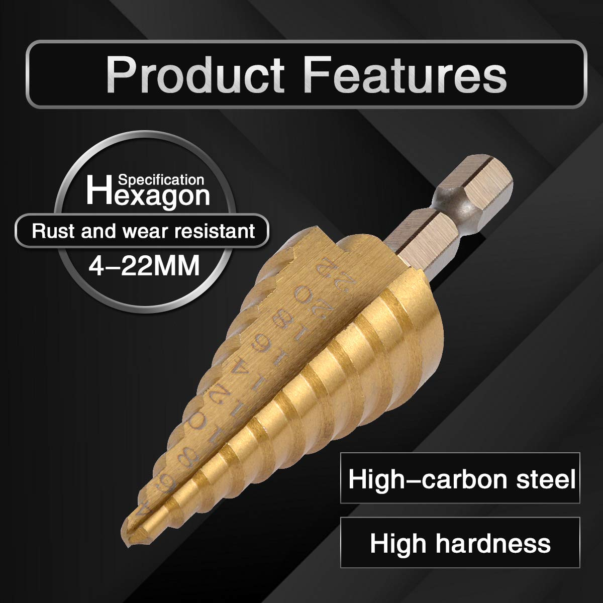 Set di punte per trapano a gradino in titanio HSS con codolo esagonale scanalato 10 misure 4-22 mm Katur