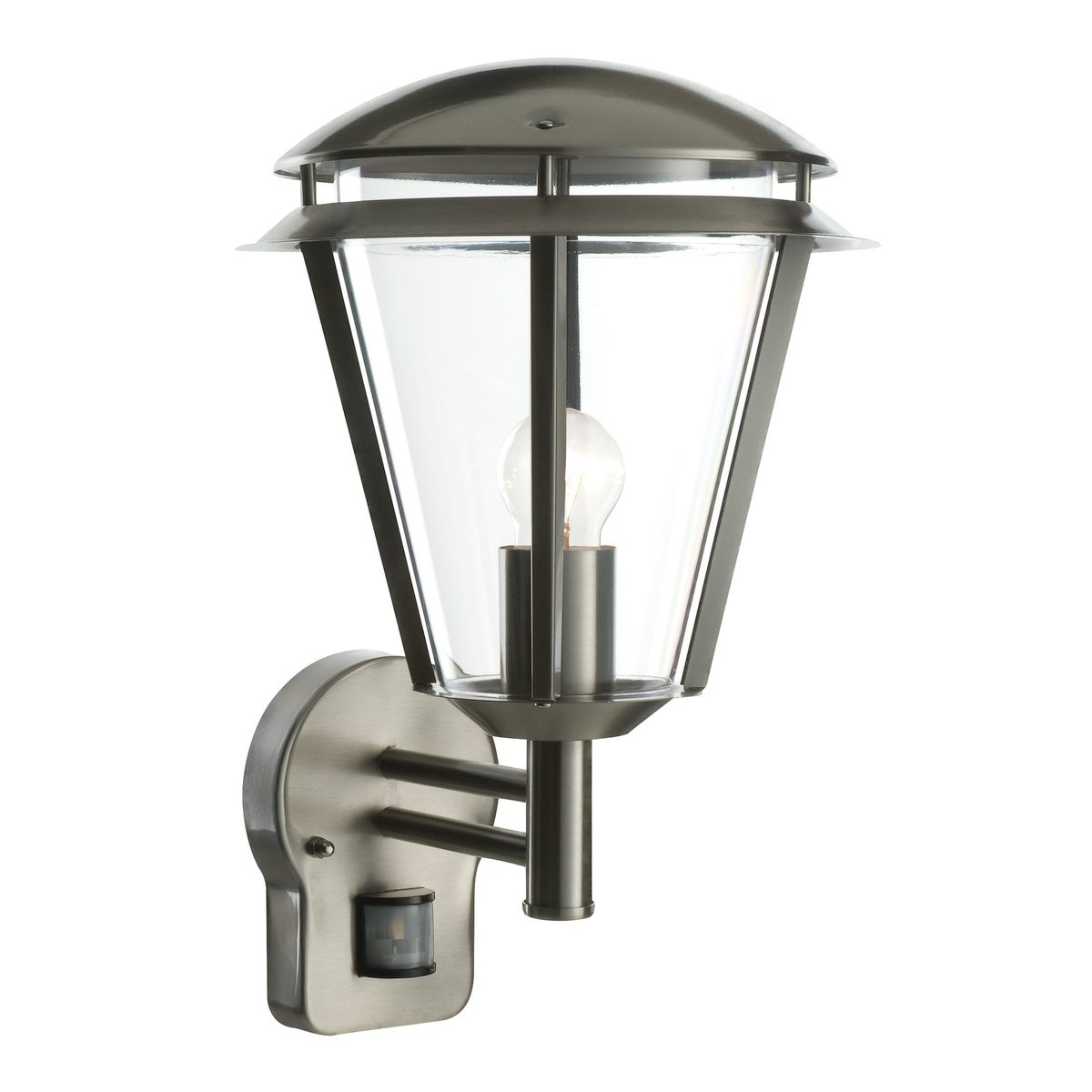 Modern Outdoor Brushed Stainless Steel Wall Lantern Security Light Complete with PIR Motion Sensor Detector IP44 Weatherproof Lamp Wall Light [Energy Class E] National Lighting