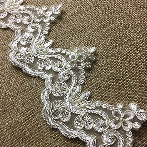 "2 Yards, Bridal Lace Trim on Organza, Pearls and Clear Sequins, for Veil, Wedding Dresses, Garments, Ivory, 4"" Inches"