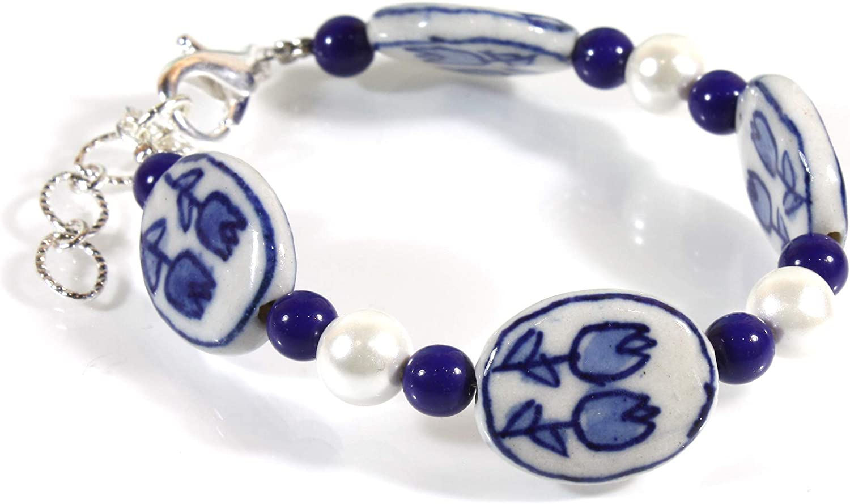 """Tulip Time"" Dutch Blue Delft Porcelain Bracelet, Adjustable Small"